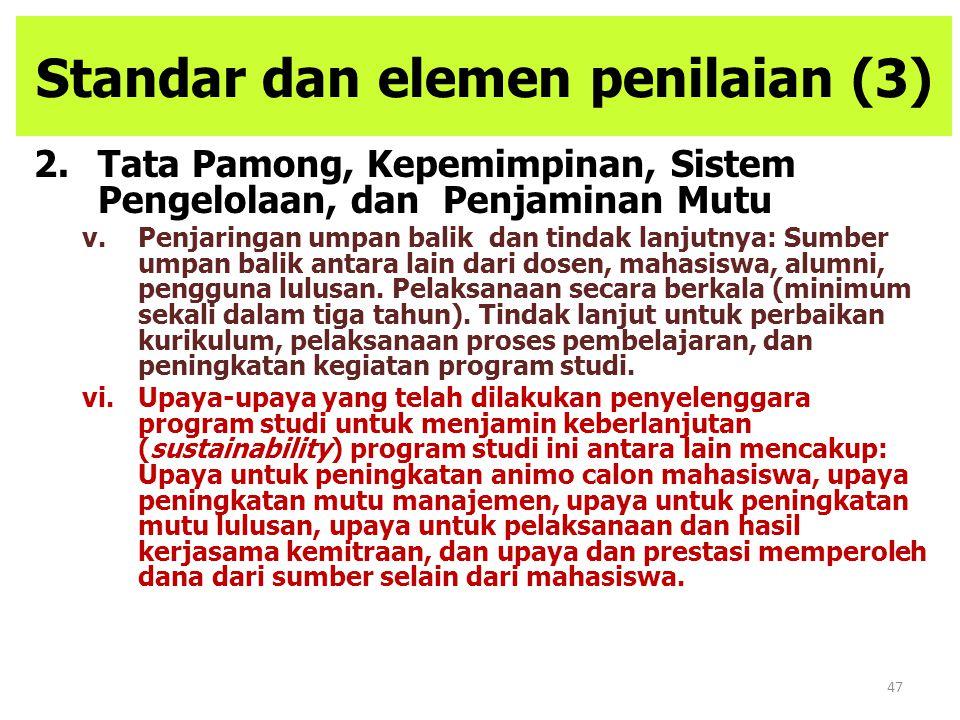 47 Standar dan elemen penilaian (3) 2.Tata Pamong, Kepemimpinan, Sistem Pengelolaan, dan Penjaminan Mutu v.Penjaringan umpan balik dan tindak lanjutny