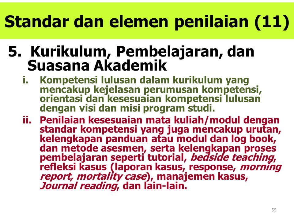 55 Standar dan elemen penilaian (11) 5. Kurikulum, Pembelajaran, dan Suasana Akademik i.Kompetensi lulusan dalam kurikulum yang mencakup kejelasan per
