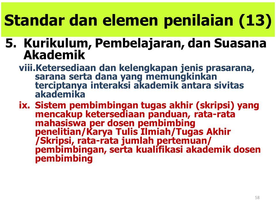 58 Standar dan elemen penilaian (13) 5.Kurikulum, Pembelajaran, dan Suasana Akademik viii.Ketersediaan dan kelengkapan jenis prasarana, sarana serta d