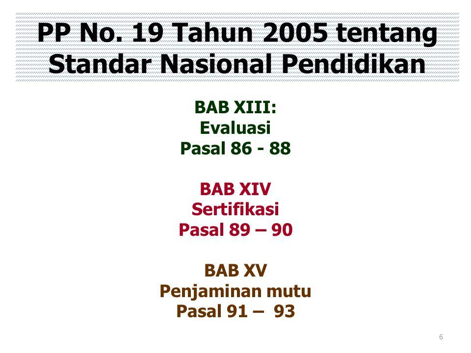 6 PP No. 19 Tahun 2005 tentang Standar Nasional Pendidikan BAB XIII: Evaluasi Pasal 86 - 88 BAB XIV Sertifikasi Pasal 89 – 90 BAB XV Penjaminan mutu P