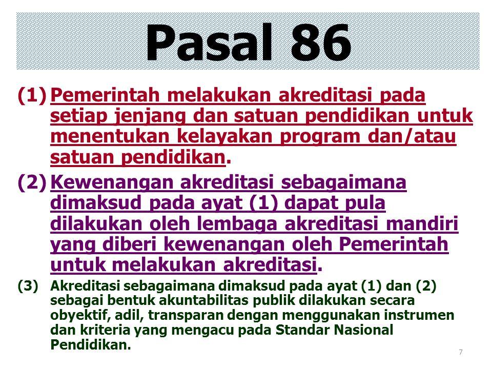 7 Pasal 86 (1)Pemerintah melakukan akreditasi pada setiap jenjang dan satuan pendidikan untuk menentukan kelayakan program dan/atau satuan pendidikan.