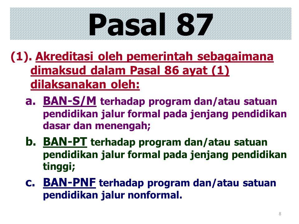 8 (1). Akreditasi oleh pemerintah sebagaimana dimaksud dalam Pasal 86 ayat (1) dilaksanakan oleh: a.BAN-S/M terhadap program dan/atau satuan pendidika