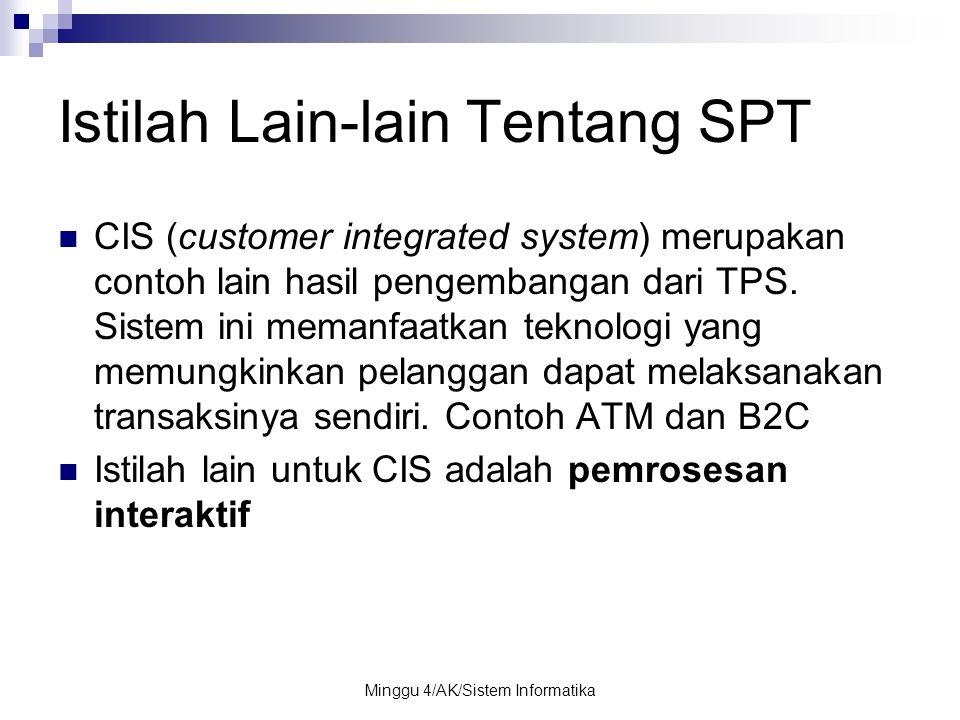Minggu 4/AK/Sistem Informatika Istilah Lain-lain Tentang SPT CIS (customer integrated system) merupakan contoh lain hasil pengembangan dari TPS. Siste