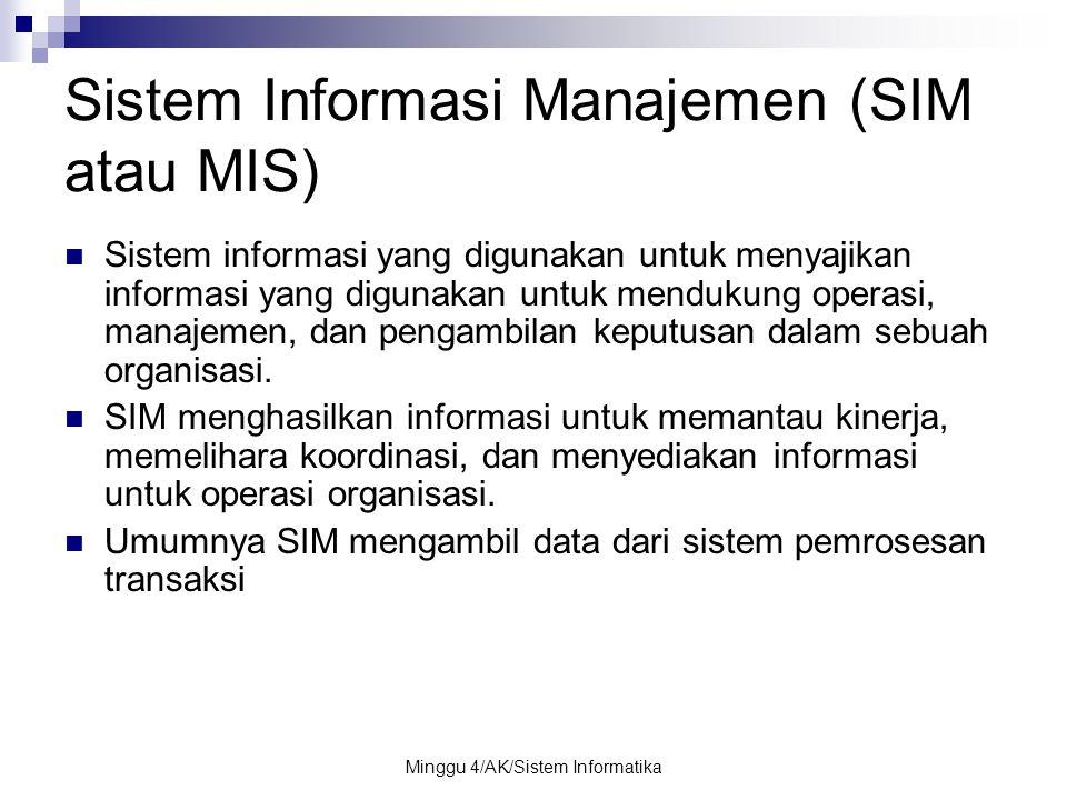 Minggu 4/AK/Sistem Informatika Sistem Informasi Manajemen (SIM atau MIS) Sistem informasi yang digunakan untuk menyajikan informasi yang digunakan unt