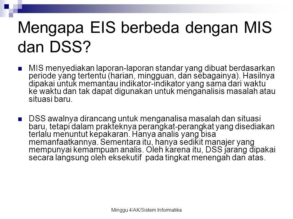 Minggu 4/AK/Sistem Informatika Mengapa EIS berbeda dengan MIS dan DSS? MIS menyediakan laporan-laporan standar yang dibuat berdasarkan periode yang te