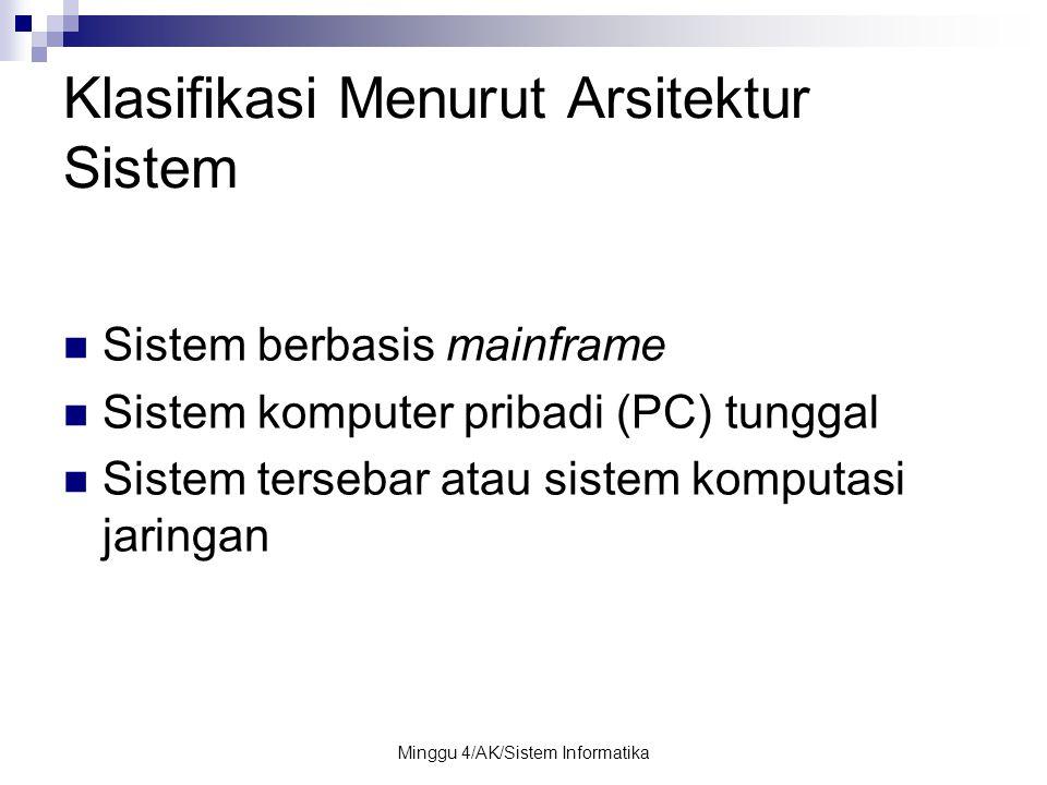 Minggu 4/AK/Sistem Informatika Klasifikasi Menurut Arsitektur Sistem Sistem berbasis mainframe Sistem komputer pribadi (PC) tunggal Sistem tersebar at