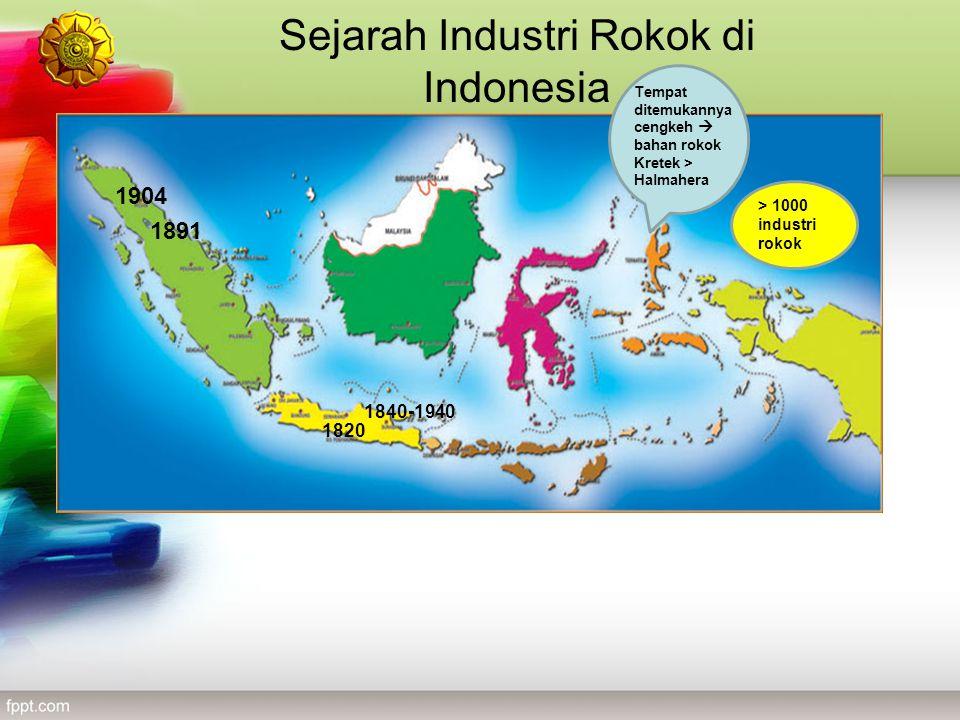 Sejarah Industri Rokok di Indonesia 1840-1940 1891 1820 1904 > 1000 industri rokok Tempat ditemukannya cengkeh  bahan rokok Kretek > Halmahera