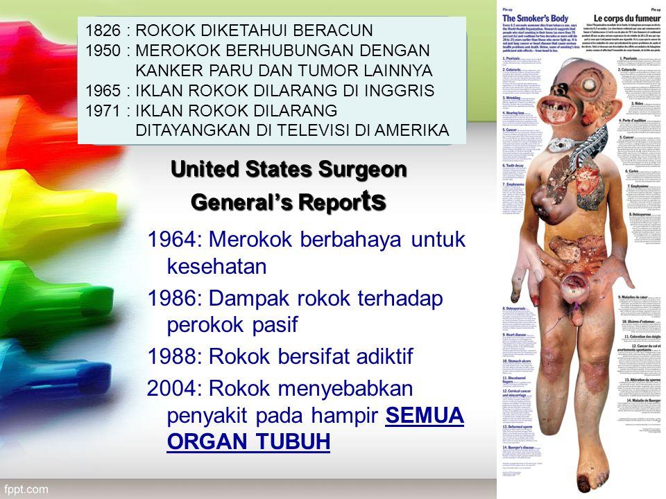 United States Surgeon General's Repor ts 1964: Merokok berbahaya untuk kesehatan 1986: Dampak rokok terhadap perokok pasif 1988: Rokok bersifat adikti