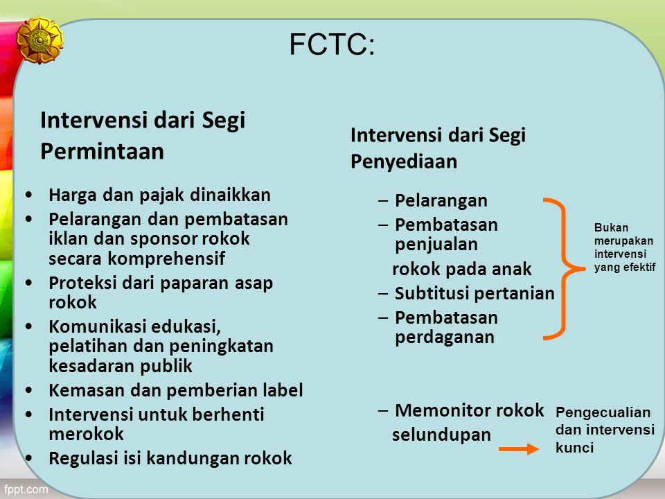 FCTC: Intervensi dari Segi Permintaan Intervensi dari Segi Penyediaan Harga dan pajak dinaikkan Pelarangan dan pembatasan iklan dan sponsor rokok seca