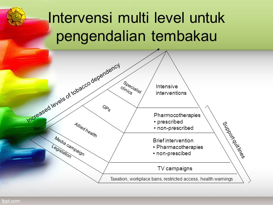 Intervensi multi level untuk pengendalian tembakau Increased levels of tobacco dependency Taxation, workplace bans, restricted access, health warnings