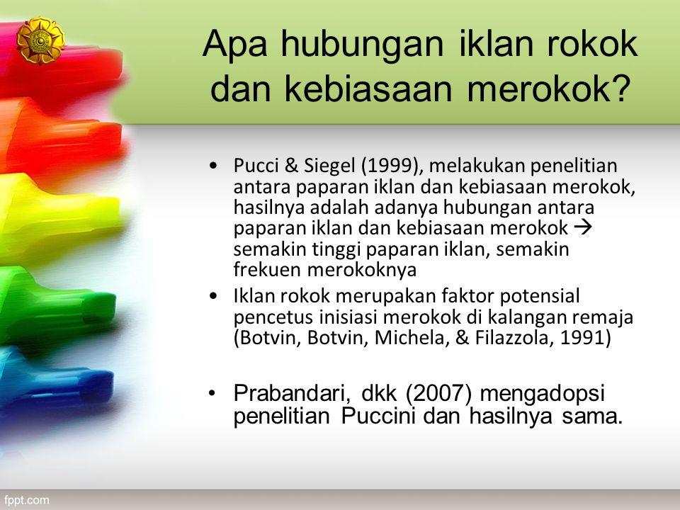 Apa hubungan iklan rokok dan kebiasaan merokok? Pucci & Siegel (1999), melakukan penelitian antara paparan iklan dan kebiasaan merokok, hasilnya adala