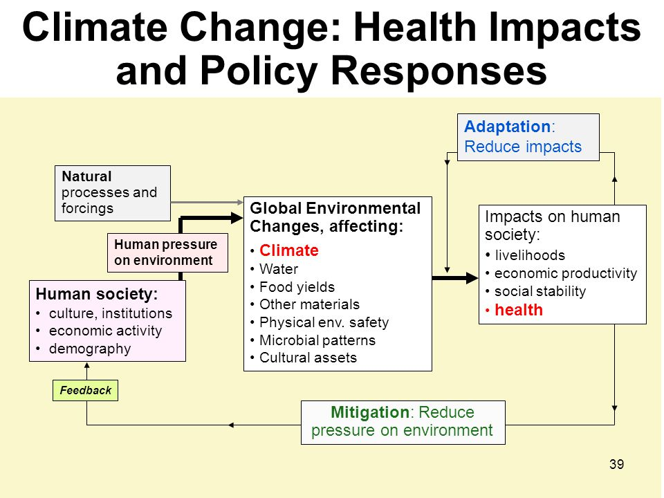 Climate Change & Health Climate Change Impacts Physical systems (ice, rivers, etc.) Biological & seasonal cycles Economy: infrastructure, output, grow