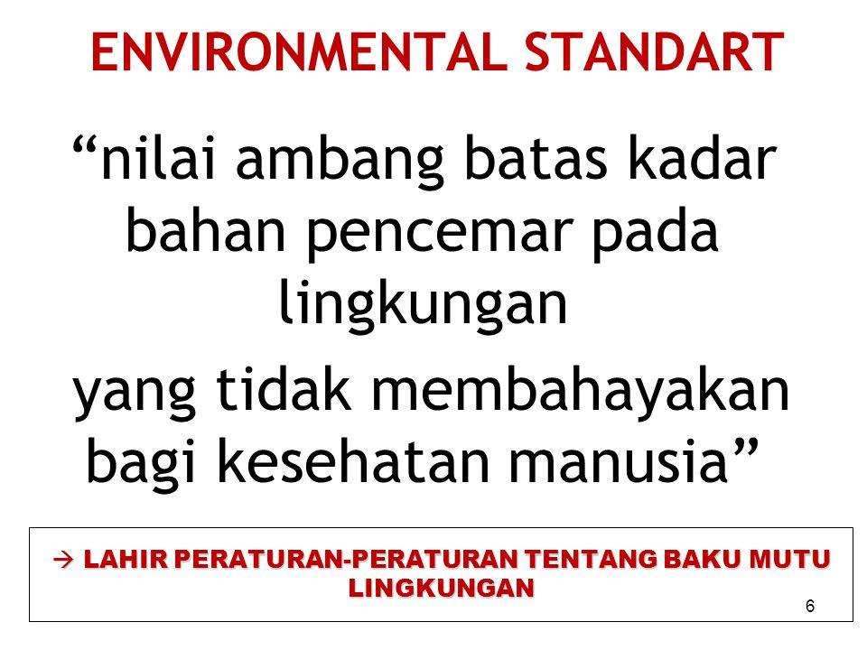 ENVIRONMENTAL STANDART nilai ambang batas kadar bahan pencemar pada lingkungan yang tidak membahayakan bagi kesehatan manusia  LAHIR PERATURAN-PERATURAN TENTANG BAKU MUTU LINGKUNGAN 6