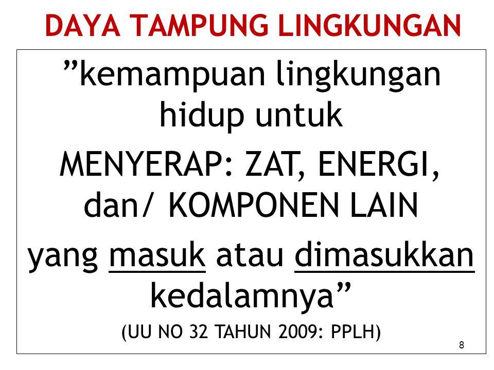 DAYA TAMPUNG LINGKUNGAN kemampuan lingkungan hidup untuk MENYERAP: ZAT, ENERGI, dan/ KOMPONEN LAIN yang masuk atau dimasukkan kedalamnya (UU NO 32 TAHUN 2009: PPLH) 8