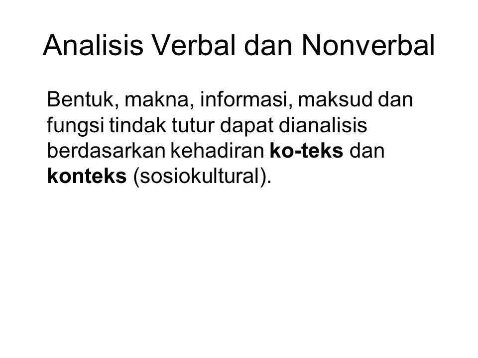 Analisis Verbal dan Nonverbal Bentuk, makna, informasi, maksud dan fungsi tindak tutur dapat dianalisis berdasarkan kehadiran ko-teks dan konteks (sos
