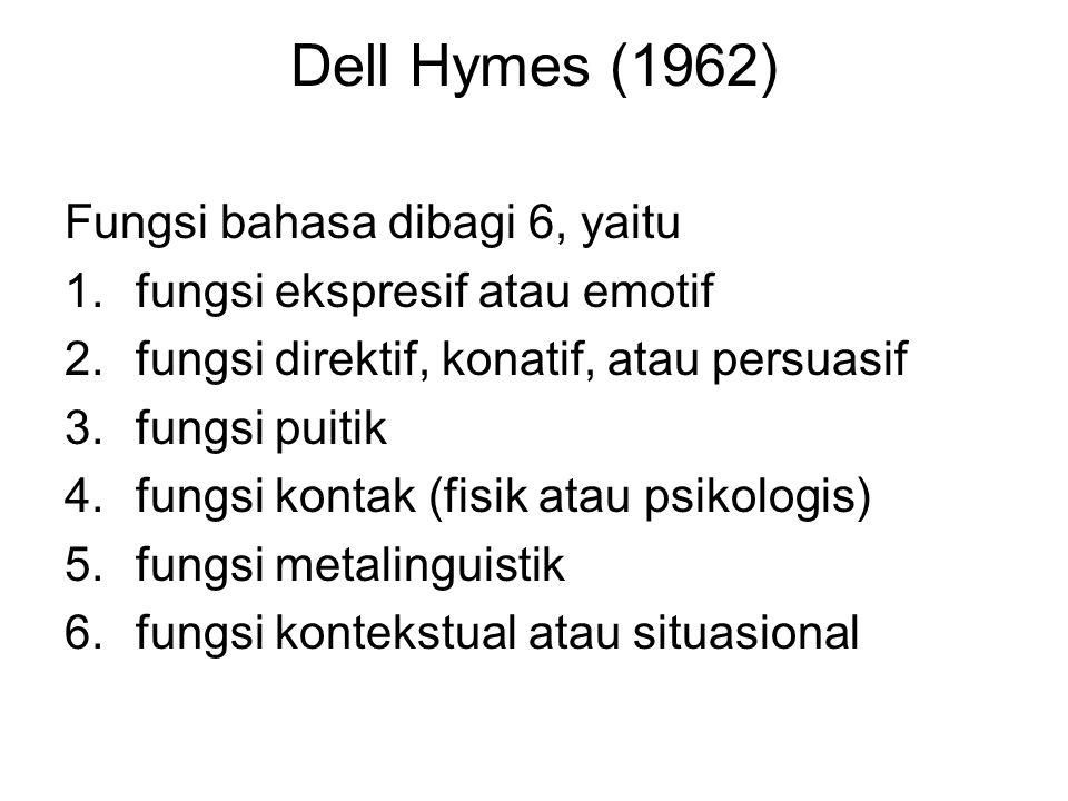 Dell Hymes (1962) Fungsi bahasa dibagi 6, yaitu 1.fungsi ekspresif atau emotif 2.fungsi direktif, konatif, atau persuasif 3.fungsi puitik 4.fungsi kon