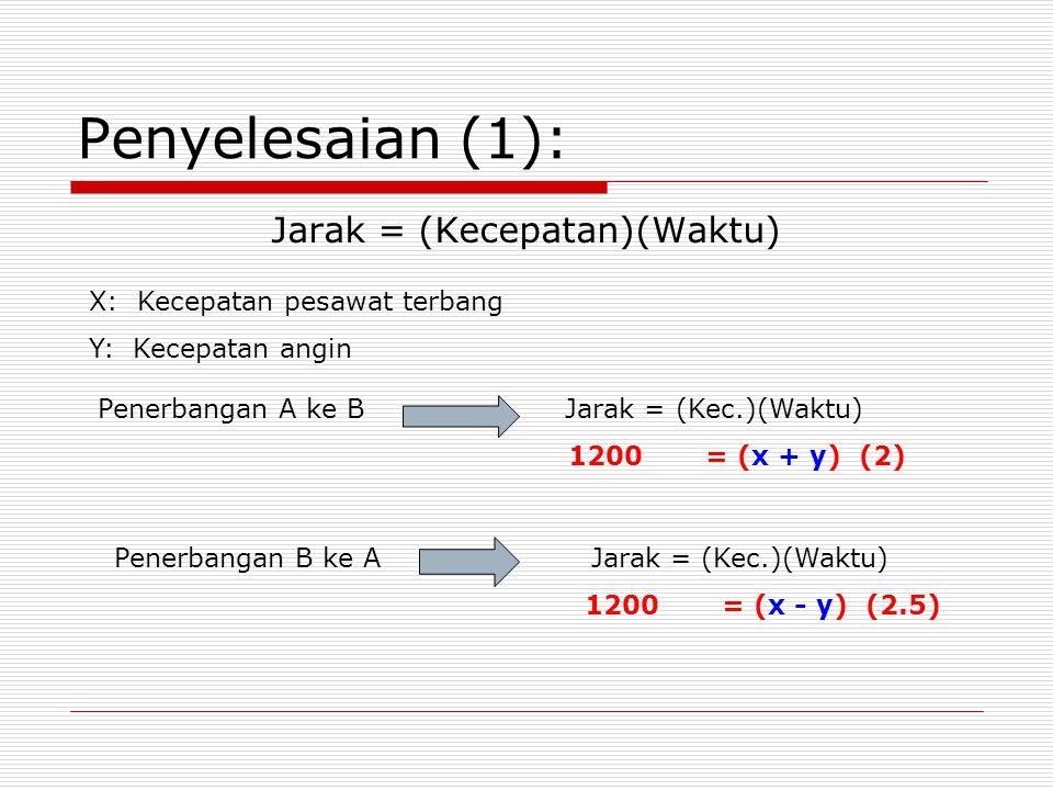 Penyelesaian (1): X: Kecepatan pesawat terbang Y: Kecepatan angin Jarak = (Kecepatan)(Waktu) Penerbangan A ke B Jarak = (Kec.)(Waktu) 1200 = (x + y) (