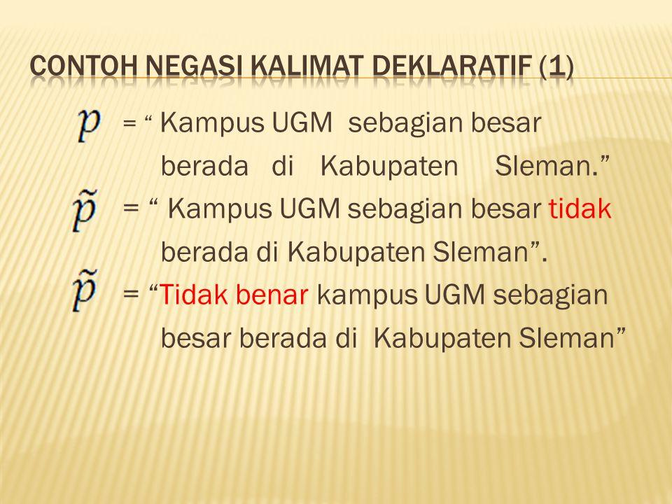 """= """" Kampus UGM sebagian besar berada di Kabupaten Sleman."""" = """" Kampus UGM sebagian besar tidak berada di Kabupaten Sleman"""". = """"Tidak benar kampus UGM"""