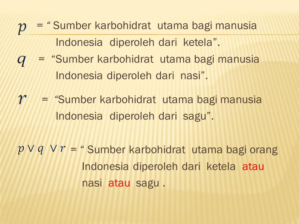 """= """" Sumber karbohidrat utama bagi manusia Indonesia diperoleh dari ketela"""". = """"Sumber karbohidrat utama bagi manusia Indonesia diperoleh dari nasi"""". ="""