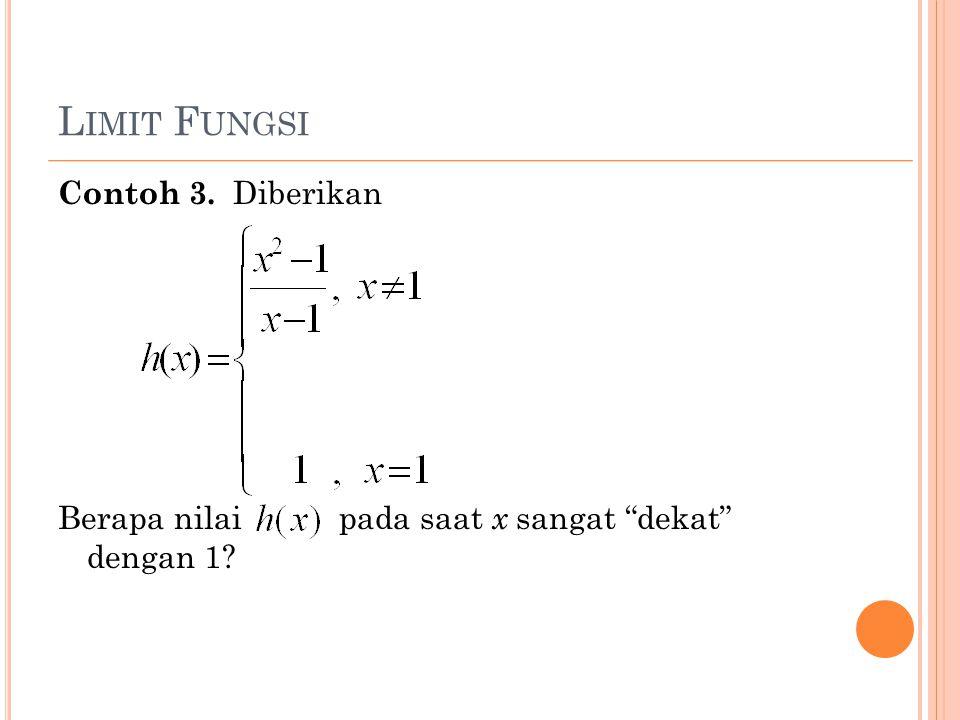 """L IMIT F UNGSI Contoh 3. Diberikan Berapa nilai pada saat x sangat """"dekat"""" dengan 1?"""