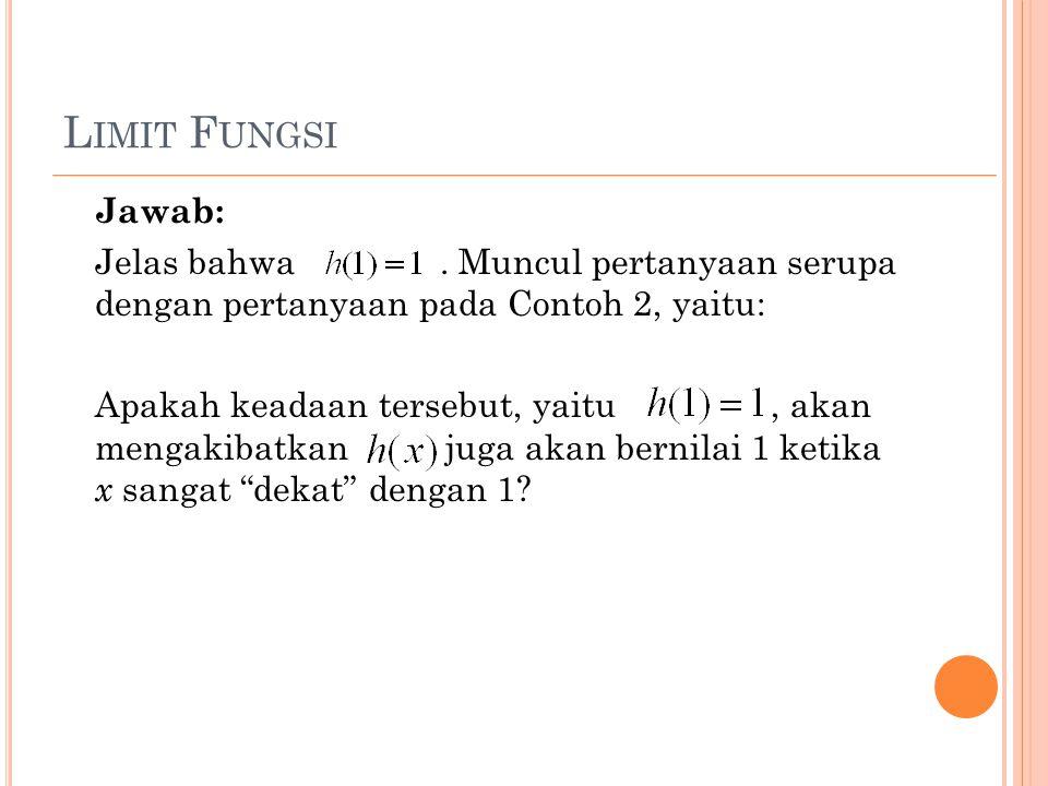 L IMIT F UNGSI Jawab: Jelas bahwa. Muncul pertanyaan serupa dengan pertanyaan pada Contoh 2, yaitu: Apakah keadaan tersebut, yaitu, akan mengakibatkan