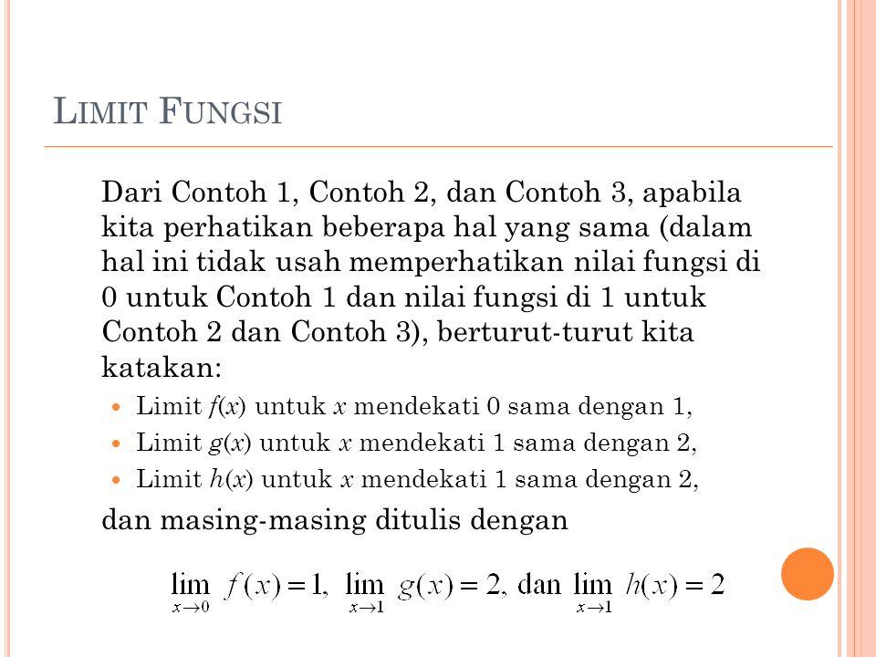 L IMIT F UNGSI Dari Contoh 1, Contoh 2, dan Contoh 3, apabila kita perhatikan beberapa hal yang sama (dalam hal ini tidak usah memperhatikan nilai fun