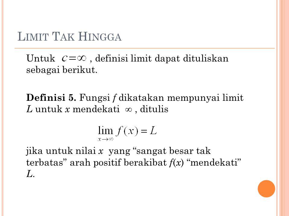 L IMIT T AK H INGGA Untuk, definisi limit dapat dituliskan sebagai berikut. Definisi 5. Fungsi f dikatakan mempunyai limit L untuk x mendekati ∞, ditu