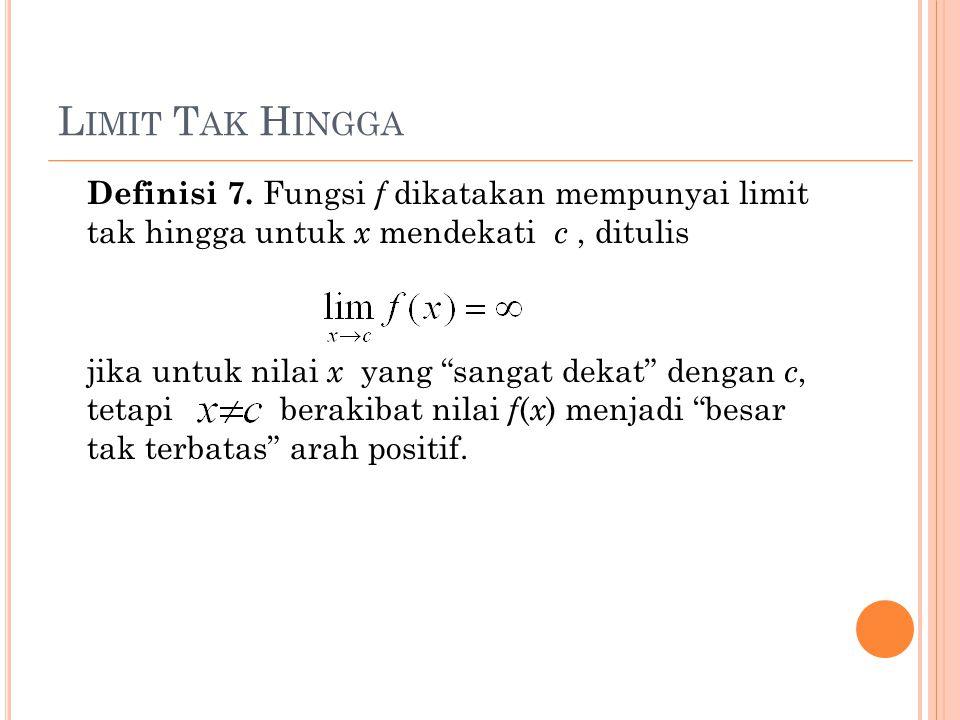 L IMIT T AK H INGGA Definisi 7.