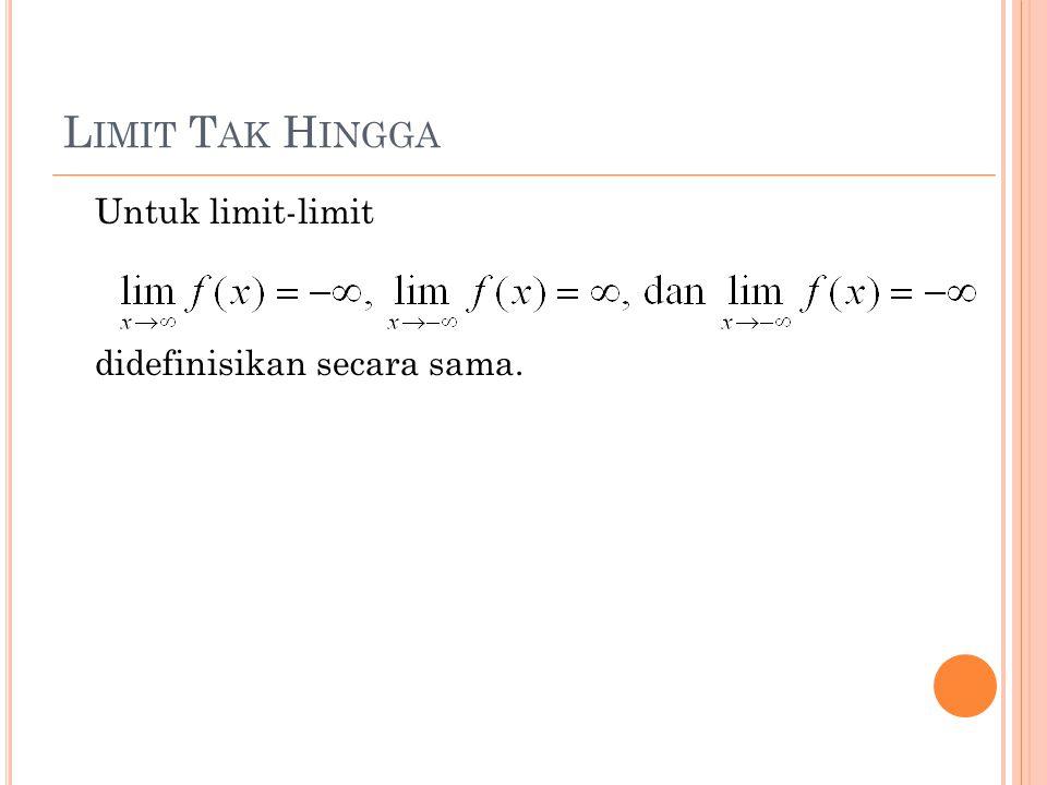 L IMIT T AK H INGGA Untuk limit-limit didefinisikan secara sama.