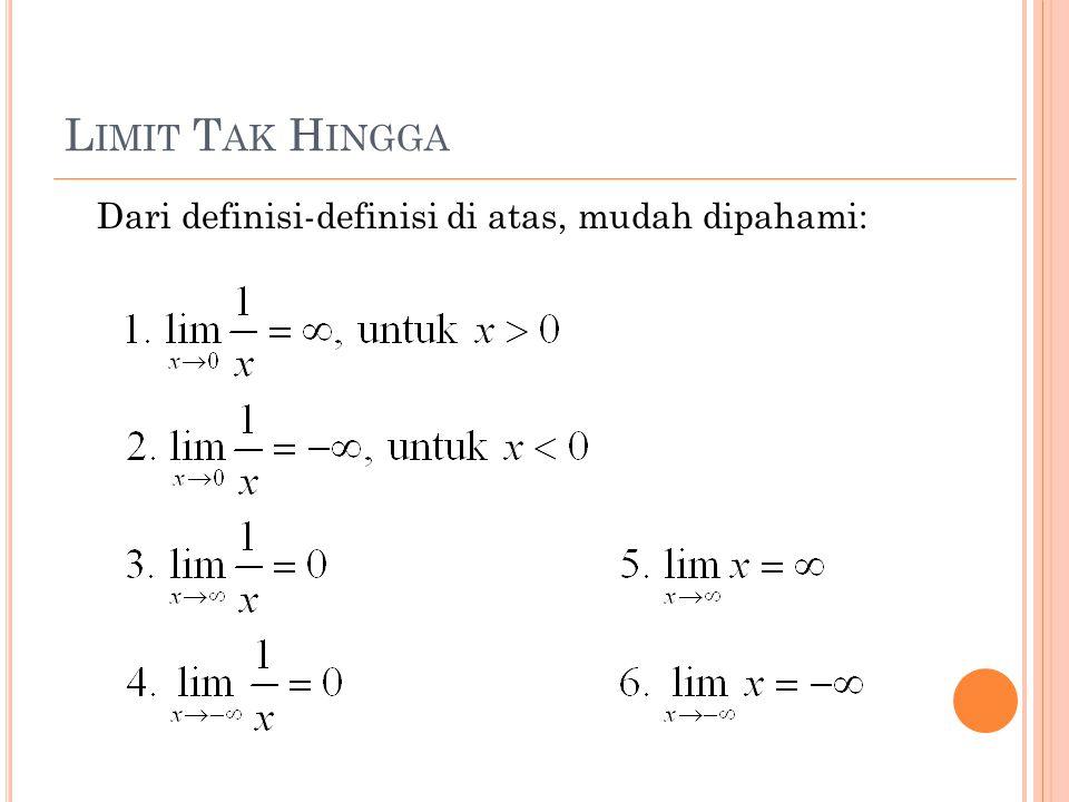L IMIT T AK H INGGA Dari definisi-definisi di atas, mudah dipahami: