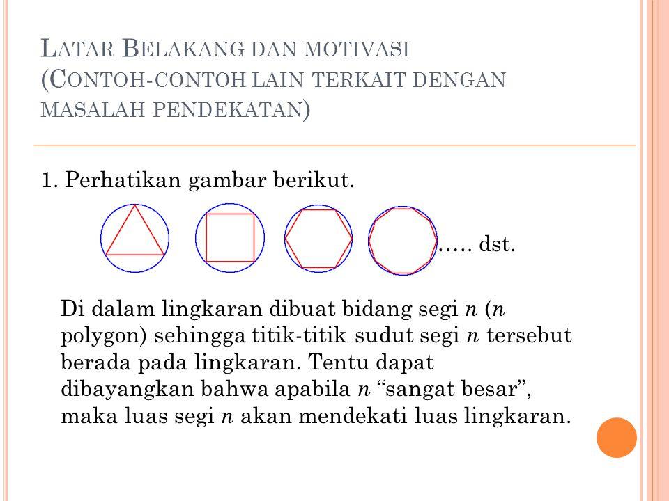 L ATAR B ELAKANG DAN MOTIVASI (C ONTOH - CONTOH LAIN TERKAIT DENGAN MASALAH PENDEKATAN ) 1. Perhatikan gambar berikut. ……. dst. Di dalam lingkaran dib
