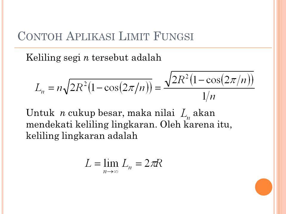 C ONTOH A PLIKASI L IMIT F UNGSI Keliling segi n tersebut adalah Untuk n cukup besar, maka nilai akan mendekati keliling lingkaran. Oleh karena itu, k
