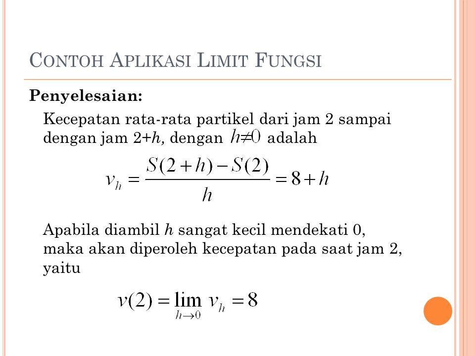 C ONTOH A PLIKASI L IMIT F UNGSI Penyelesaian: Kecepatan rata-rata partikel dari jam 2 sampai dengan jam 2+ h, dengan adalah Apabila diambil h sangat kecil mendekati 0, maka akan diperoleh kecepatan pada saat jam 2, yaitu