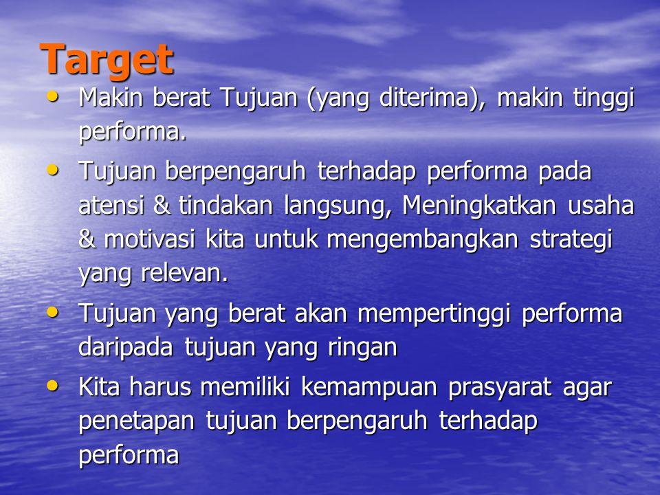Khusus untuk tujuan berat, kita membutuhkan umpan balik atau pengetahuan tentang hasil (Knowledge of result) agar memiliki performa tinggi.