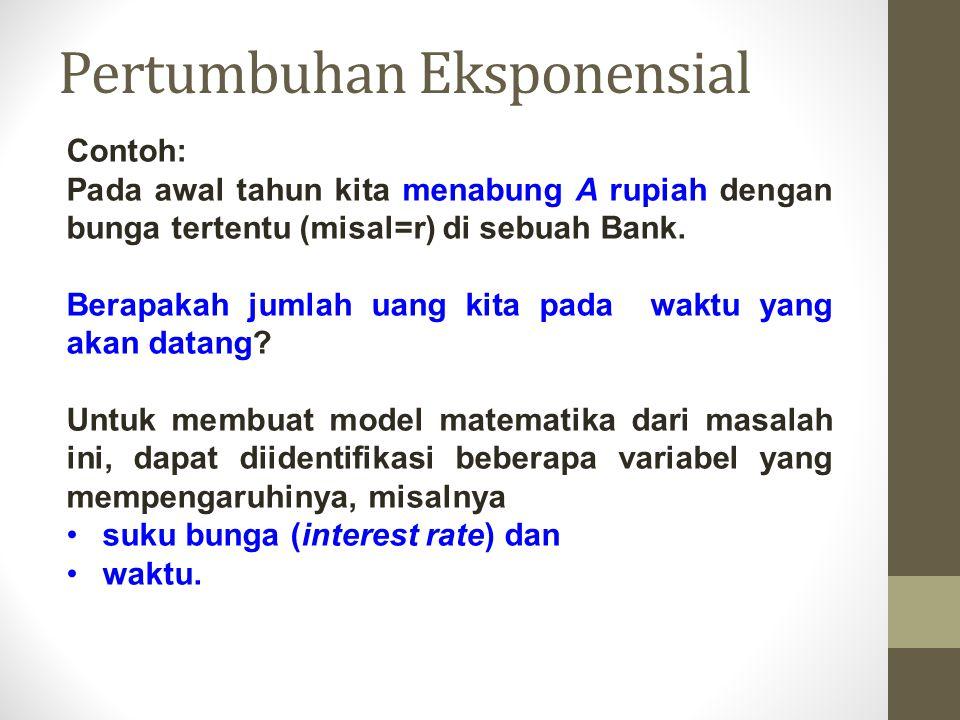 Contoh: Pada awal tahun kita menabung A rupiah dengan bunga tertentu (misal=r) di sebuah Bank. Berapakah jumlah uang kita pada waktu yang akan datang?