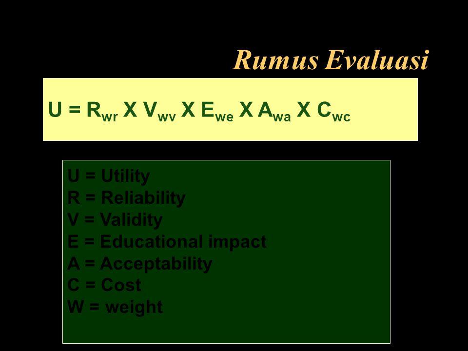 Rumus Evaluasi U = R wr X V wv X E we X A wa X C wc U = Utility R = Reliability V = Validity E = Educational impact A = Acceptability C = Cost W = wei