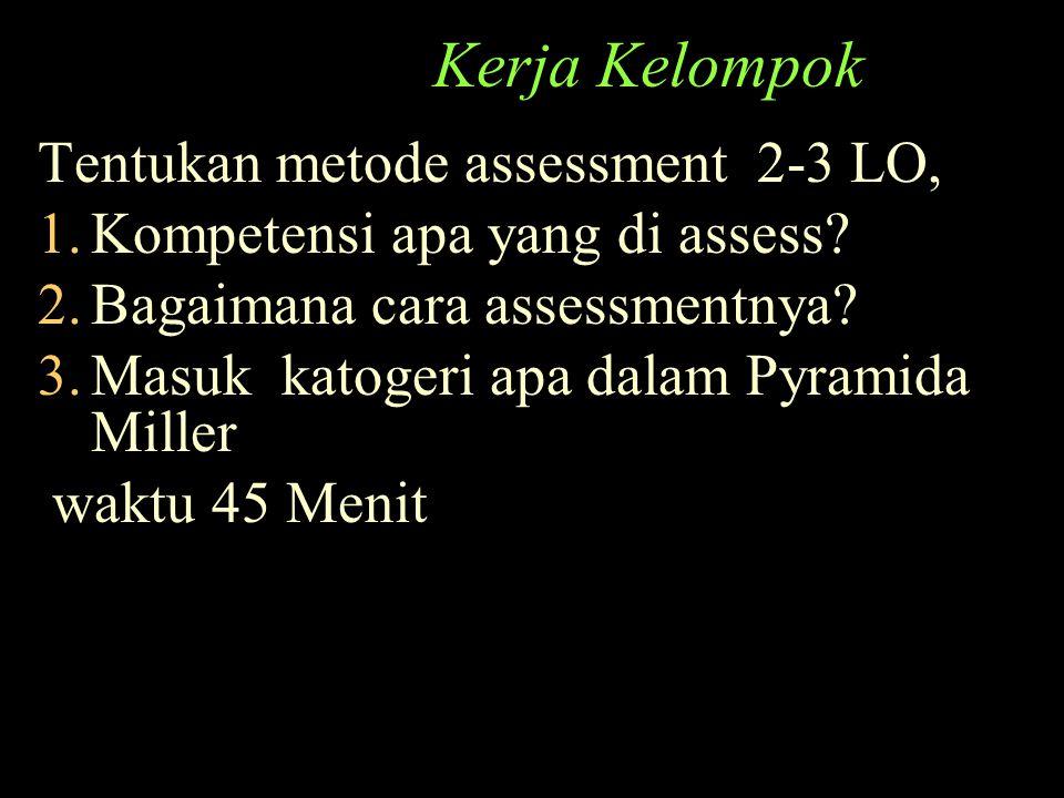 Kerja Kelompok Tentukan metode assessment 2-3 LO, 1.Kompetensi apa yang di assess? 2.Bagaimana cara assessmentnya? 3.Masuk katogeri apa dalam Pyramida