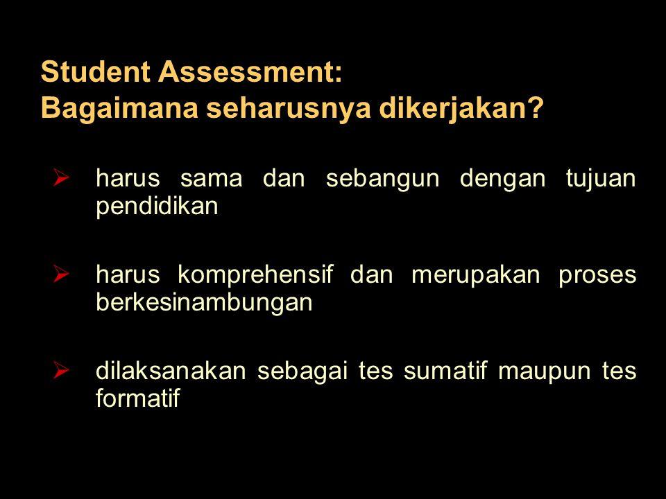 Student Assessment: Bagaimana seharusnya dikerjakan?  harus sama dan sebangun dengan tujuan pendidikan  harus komprehensif dan merupakan proses berk