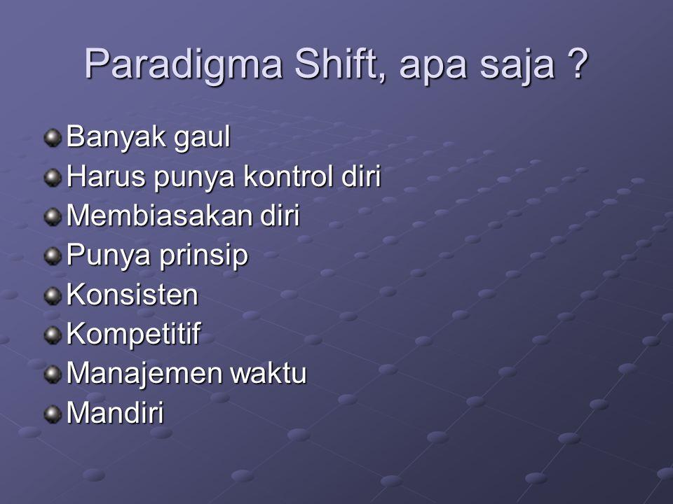 Paradigma Shift, apa saja .