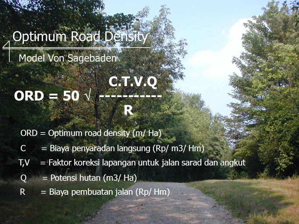 Optimum Road Density ORD = 50  ----------- Model Von Sagebaden C.T.V.Q R ORD = Optimum road density (m/ Ha) C = Biaya penyaradan langsung (Rp/ m3/ Hm) T,V = Faktor koreksi lapangan untuk jalan sarad dan angkut Q = Potensi hutan (m3/ Ha) R = Biaya pembuatan jalan (Rp/ Hm)