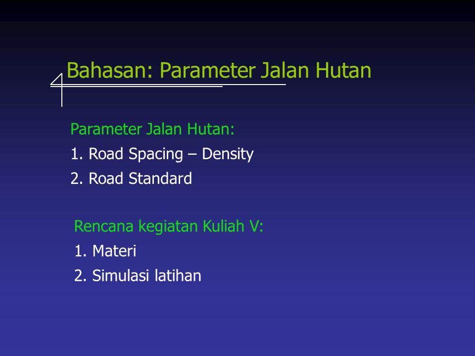 Bahasan: Parameter Jalan Hutan Parameter Jalan Hutan: 1.