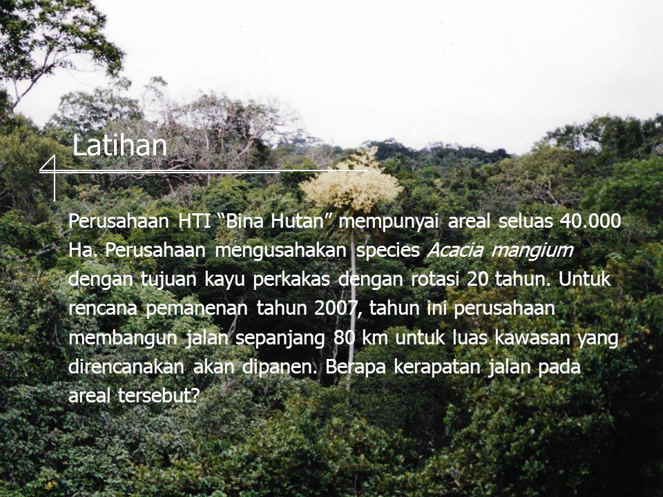 Latihan Perusahaan HTI Bina Hutan mempunyai areal seluas 40.000 Ha.