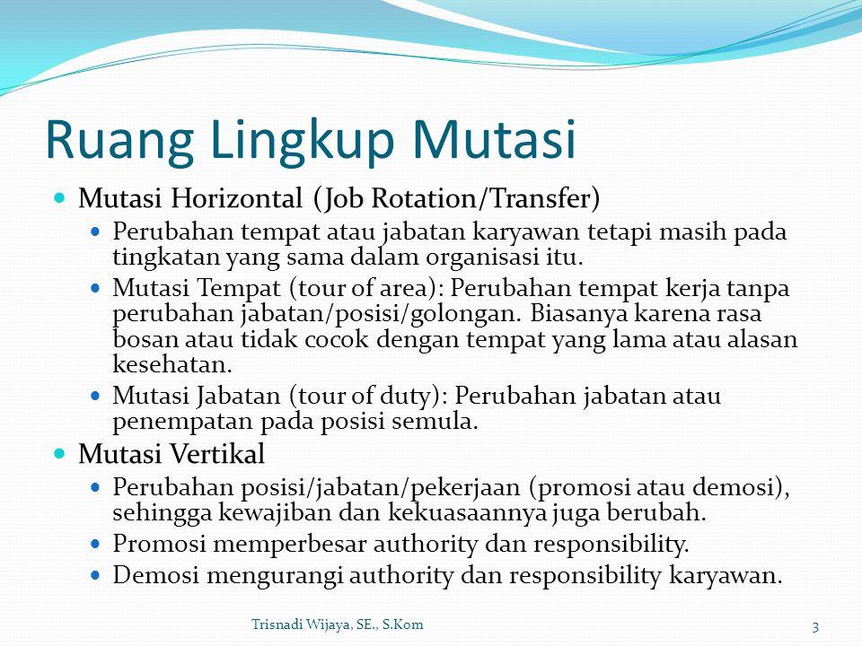 Ruang Lingkup Mutasi Mutasi Horizontal (Job Rotation/Transfer) Perubahan tempat atau jabatan karyawan tetapi masih pada tingkatan yang sama dalam orga