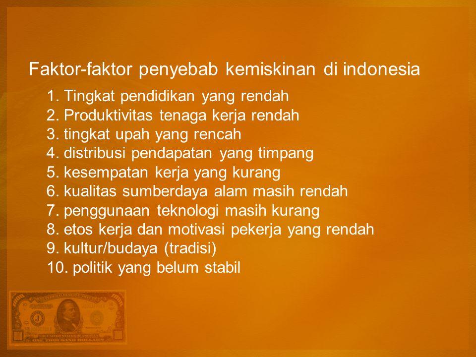 Faktor-faktor penyebab kemiskinan di indonesia 1. Tingkat pendidikan yang rendah 2. Produktivitas tenaga kerja rendah 3. tingkat upah yang rencah 4. d