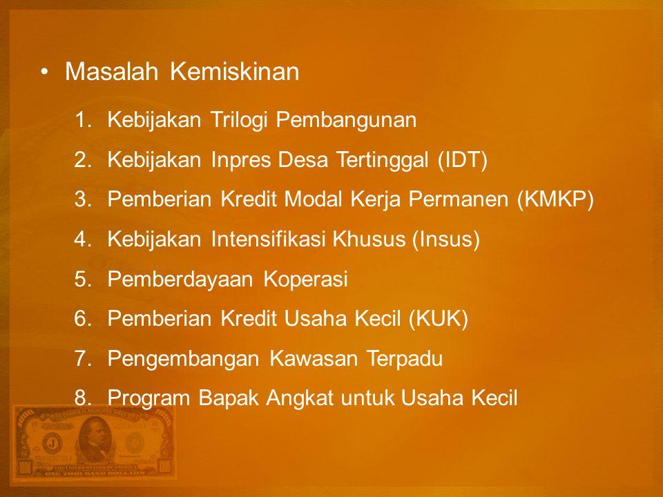 Masalah Kemiskinan 1.Kebijakan Trilogi Pembangunan 2.Kebijakan Inpres Desa Tertinggal (IDT) 3.Pemberian Kredit Modal Kerja Permanen (KMKP) 4.Kebijakan Intensifikasi Khusus (Insus) 5.Pemberdayaan Koperasi 6.Pemberian Kredit Usaha Kecil (KUK) 7.Pengembangan Kawasan Terpadu 8.Program Bapak Angkat untuk Usaha Kecil