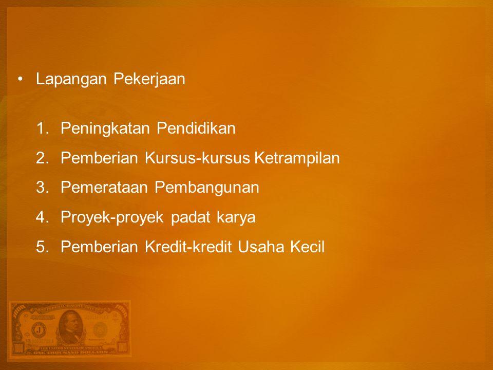 Lapangan Pekerjaan 1.Peningkatan Pendidikan 2.Pemberian Kursus-kursus Ketrampilan 3.Pemerataan Pembangunan 4.Proyek-proyek padat karya 5.Pemberian Kredit-kredit Usaha Kecil