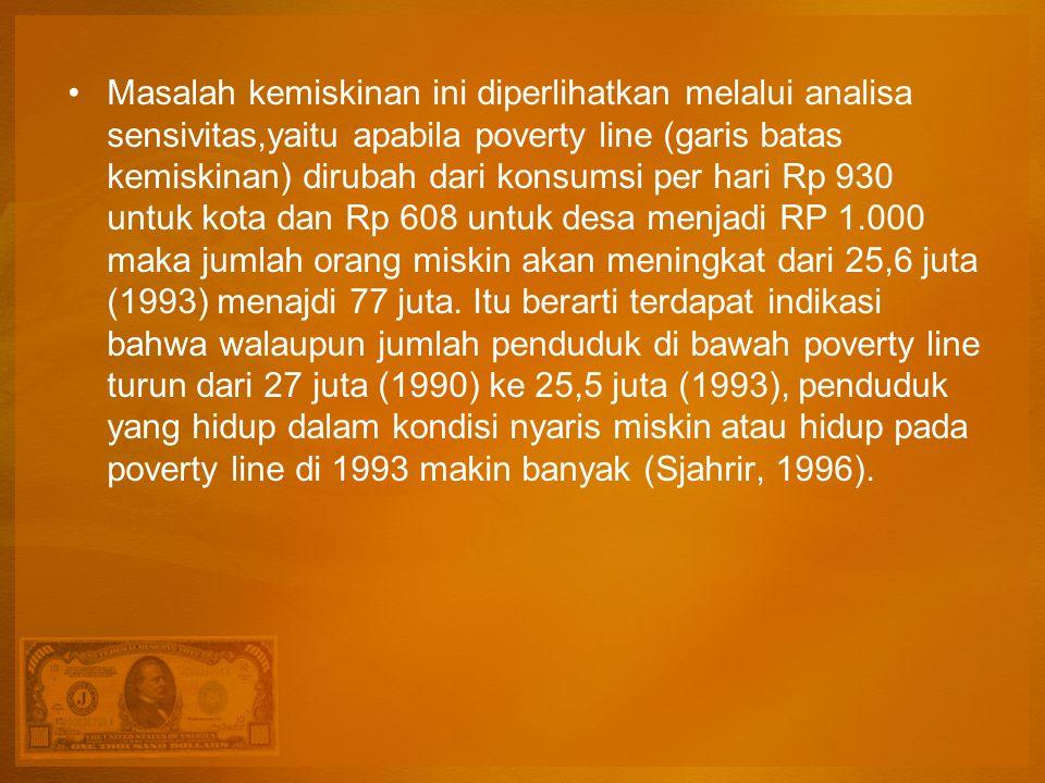 Masalah kemiskinan ini diperlihatkan melalui analisa sensivitas,yaitu apabila poverty line (garis batas kemiskinan) dirubah dari konsumsi per hari Rp 930 untuk kota dan Rp 608 untuk desa menjadi RP 1.000 maka jumlah orang miskin akan meningkat dari 25,6 juta (1993) menajdi 77 juta.