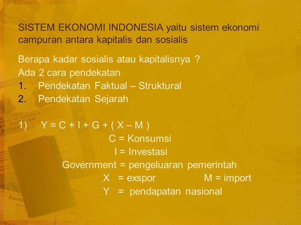 EMPAT TIPE IDEAL DARI SISTEM POLITIK : DILIHAT DARI PERSPEKTIF EKONOMI LAISSESZ FAIRE DIMENSI EKONOMI ALOKASI SUMBER (resources alocation) PASAR PERENCANAAN DIMENSI POLITIK KEPEMILIKAN SUMBER (resources ownership) PRIVAT NEGARA SISTEM KAPITALISME LIBERAL SISTEM SOSIALISME PASAR (market socialism) SISTEM EKONOMI CAMPURAN (mixed economy) (plan economy) SISTEM SOSIALISME ETATISME (TOTALITARIANISME)