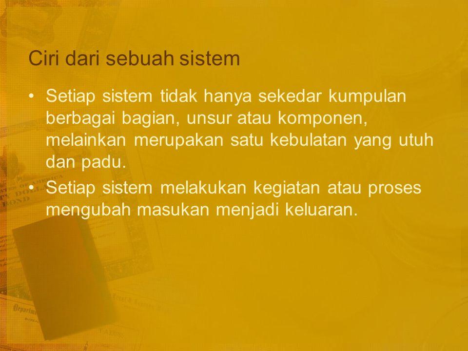 Pengertian Sistem Istilah sistem berasal dari perkataan systema (bahasa Yunani), yang dapat diartikan sebagai: keseluruhan yang terdiri dari macam-macam bagian.