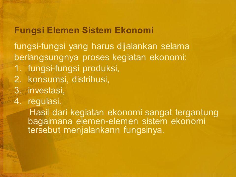 Elemen-elemen dalam Sistem Ekonomi Unit-unit ekonomi seperti: rumah tangga, perusahaan, serikat buruh, instansi pemerintah dan lembaga-lembaga lain yang berkaitan dengan kegiatan ekonomi.